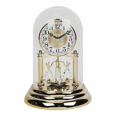 Rhythm Gold Coloured Anniversary Bell Jar Mantel Clock w Pendulum 23cm