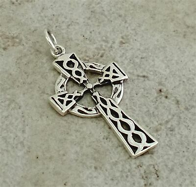 LARGE 925 STERLING SILVER CELTIC KNOT CROSS PENDANT  style# p0971
