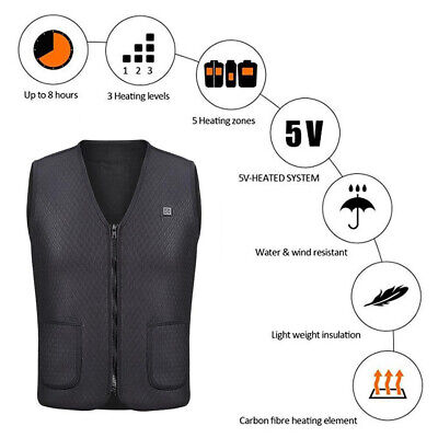 AU Unisex Electric Heated Heating Vest Winter Warm-Up Jacket USB Pocket Top-Coat