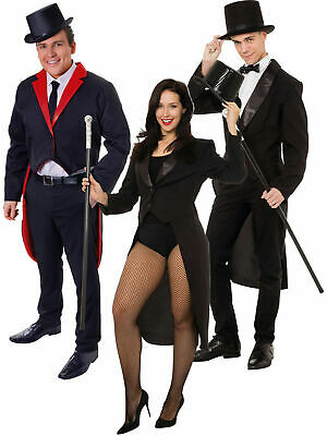 Adults Tailcoat Costume Mens Ladies Ring Master Magician Fancy Dress Accessory