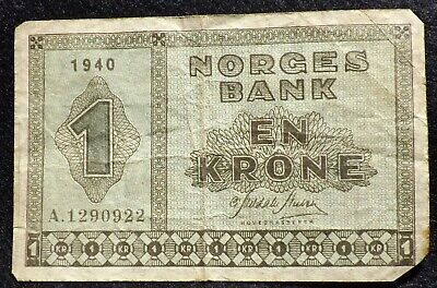 1940 Norway Norges Bank One Krone Banknote