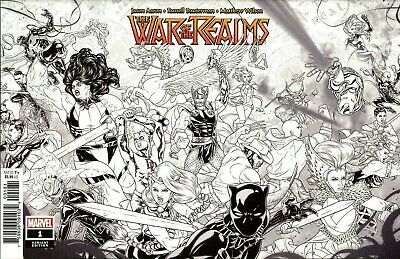 War of the Realms #1 Dauterman Black and White Variant Marvel 2019