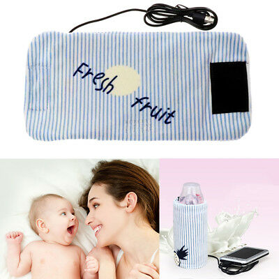 Portable Car Bottle Warmer Heater Travel Baby Kids Milk Water USB Cover Pouch