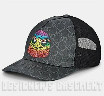 1dce2aad GUCCI black L angry bird EAGLE Supreme GG Canvas Baseball Hat cap NWT  Authentic!