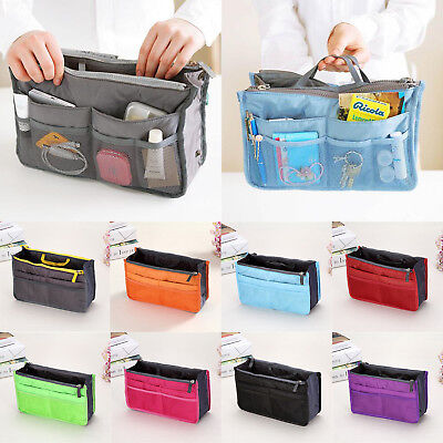 Womens Insert Handbag Pouch Liner Organizer Bag Travel Mutil-Zipper Make up Case