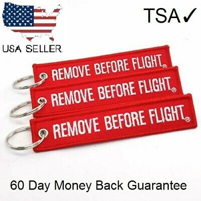 FABRIC KEY RING Remove Before Flight Keychain Pilot Bag Crew Tag Luggage Keyring