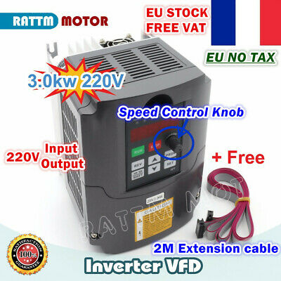 3KW 220V VFD Inverter Variable Frequency Drive 4HP 3 Phase Output 13A+Cable【FR】