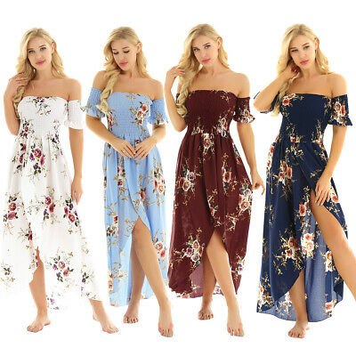 Women's Floral Off Shoulder Boho Maxi Dress Party Evening Summer Beach Sundress