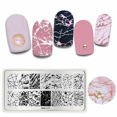 Harunouta Rectangle Stamping Plates Lines Nail Art Image Stamp Template L079