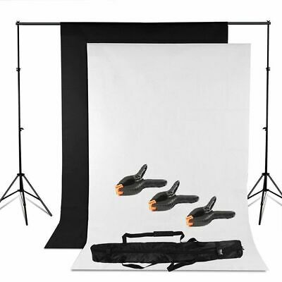 Background Stand Kit Photography Photo Studio Black White Backdrop + 3 Clamp Set