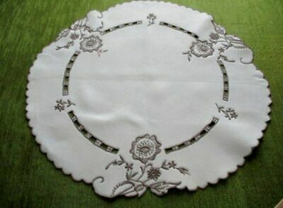 Vintage Madeira Table Center-Hand Embroidered-Linen-Unused