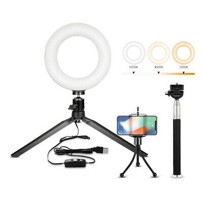 "6"" LED Dimmbar 10W Ringleuchte Ringlicht mit Handy Stativ Live YouTube Makeup DE"