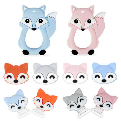 4X Silicone Beads Baby Teether Teething Toy Fox Pacifier Clip Chewing BPA Free
