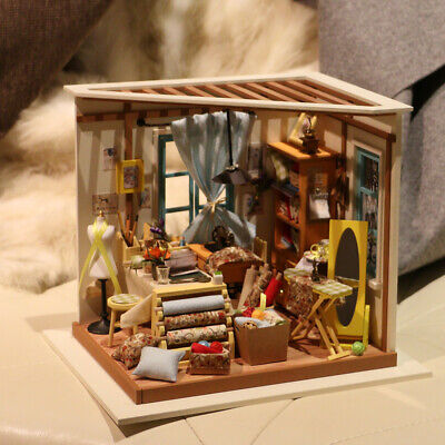 Robotime DIY Dollhouse Tailor Shop Model Kits Wooden Furniture Miniature 1:24