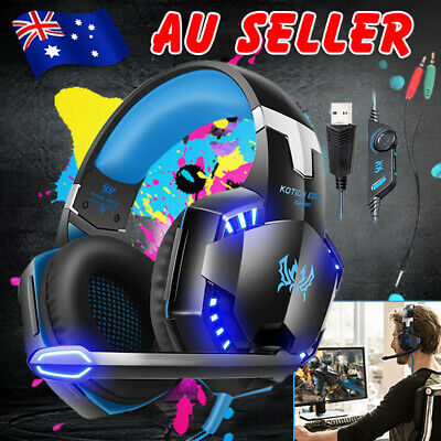 3.5mm Gaming Headset MIC LED Headphones for PC Mac Laptop PS4 Xbox One 360 ESM