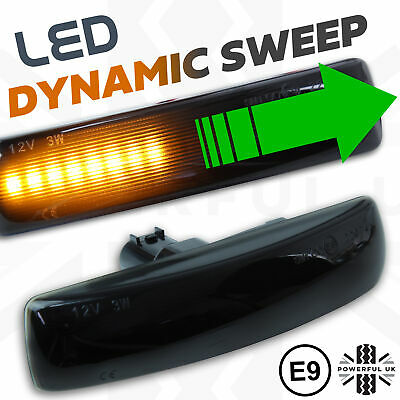 LED Smoked DYNAMIC sweep side repeaters front wing Indicators fits Freelander 2