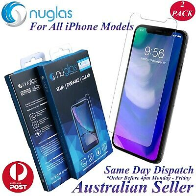 2x Nuglas Tempered Glass Screen Protector For iPhone XS Max X 8 7 6 6S Plus