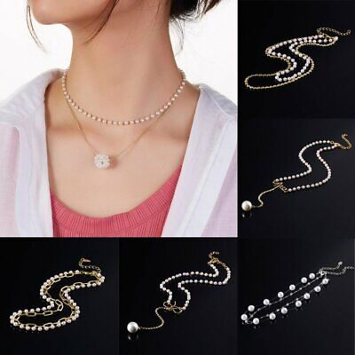Fashion Boho Women Crystal Pearl Chain Necklace Pendant Clavicle Choker Holiday
