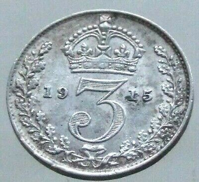 1915 WW1 Silver Threepence, Scarce Date, Lovely Coin - FREE POSTAGE (20C)