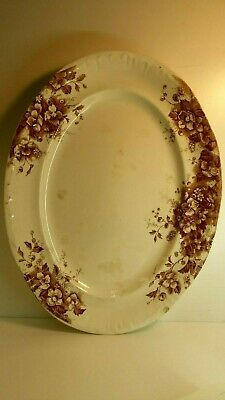 Large Antique Victorian Porcelain Pottery Meat / Vegetable Plate Brown Floral