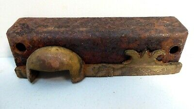 Antique Victorian Brass Door Rim Lock Strike Plate Keep Keeper Latch H&T Vaughan