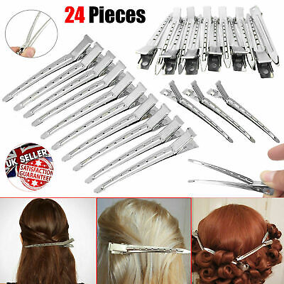 24x Professional Metal Hair Sectioning Clips Sprung Strong Hairdressing Grip