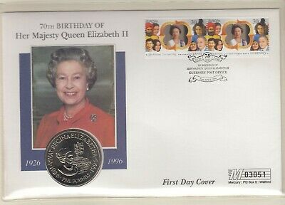 Guernsey 1996 QEII QE2 Queen Elizabeth 70th Birthday PNC £5 coin cover