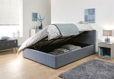 637a6930f61a Grey Faux Leather Side Gas Lift Storage Ottoman Bed - 3ft, 4ft, 4ft6 or