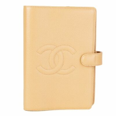 57656 auth CHANEL beige Caviar leather CC Medium Agenda Cover