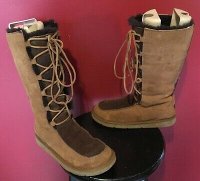 765268cd48a UGG BOOTS WHITLEY Tall Lace Up Womens Sz 8 M Two Toned Mocha/Sand 5230  Chestnut