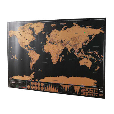 Large Size Scratch Off World Map Premium Wall Sticker Poster for Traveler