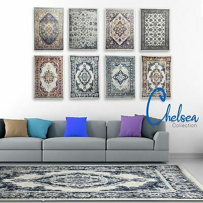 Cream Blue Grey Dining Rugs Vintage CHELSEA Floral Area Carpets EASY CLEAN Rug