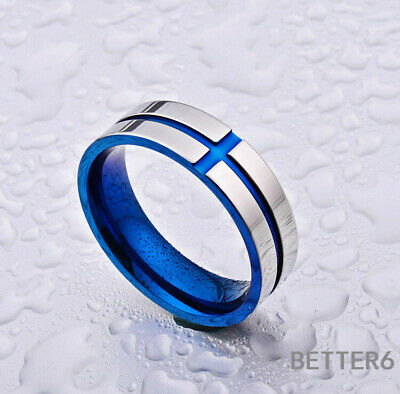 Blue 6MM Wedding Size Men's Steel Silver Band Blue Titanium Cross Stainless Ring