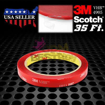 12mm x 35FT Genuine 3M VHB #4905 Clear Double-Sided Mounting Tape Automotive Car