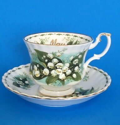 Vintage LILY Of The VALLEY Flower of The Month Cup & Saucer ROYAL ALBERT England
