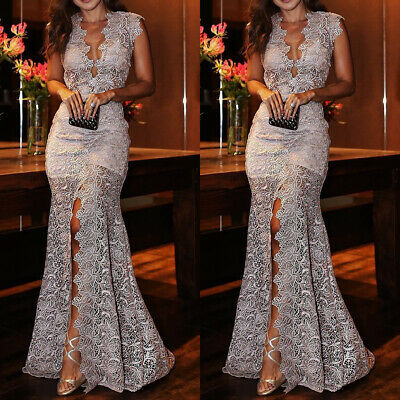 825079fd Women Lace Mermaid Prom Dress Bodycon Long Maxi Dresses Evening Party  Cocktail