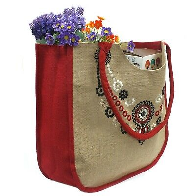 Heavy duty embroidered reusable jute shopping bag sustainable long lasting