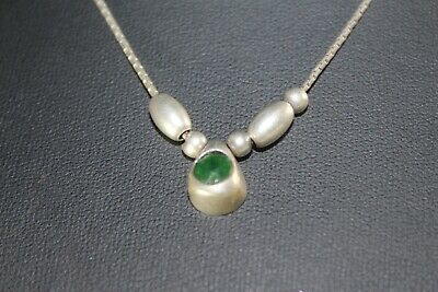 Teardrop necklace, antique silver 925, agate stone, green color, classic, gift