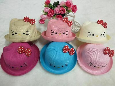 c568bd48a KITTY BABY GIRLS Fashion Straw Hats for Children Summer Beach Sun ...