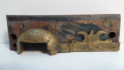 Antique Victorian Brass Door Rim Lock Strike Plate Keep Keeper Latch