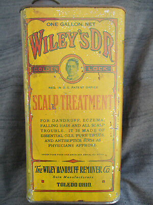 Vintage Wileys Scalp Treatment Tin Dandruff & Baldness Cure Barber 1 Gallon Can