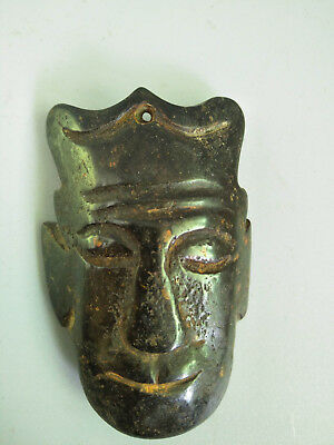 Hongshan culture Magnetic jade stone carved Person's face jade pendant E21