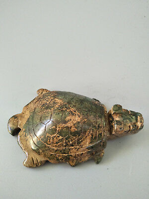 Exquisite Hand-carved old jade dragon turtle statue for lucky G140