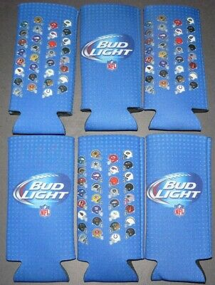 6 New BUD LIGHT NFL 16 oz. Slim Can or Bottle Insulated Cozy Coozie Koozie