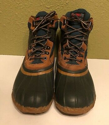 23b110f66df VINTAGE AMERICAN CAMPER Boots Rubber & Canvas Steel Shank Camping ...
