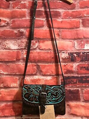 824ccbcff NEW PATRICIA NASH Crossbody Bag Torri Purse Turquoise Tooled Leather