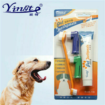 UK Pet Dog Cat Toothbrush and Toothpaste Teeth Cleaning Set 4 Pc Teeth Oral RR