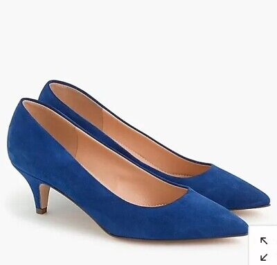4b4f585922 JCrew $198 Dulci Kitten Heels in Suede 8.5 M Brilliant Sapphire Blue Pump