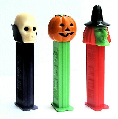 3 PEZ Halloween 'Pumpkin, Skull, Witch' - Dispensers Only - Retired