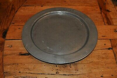 "Antique  12.5"" Pewter Charger Old Surface"